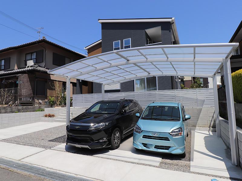フォーセンス完成 2台用カーポート|滋賀で家を建てるなら匠工房