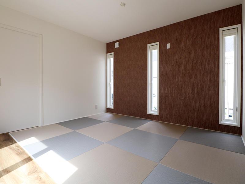 ゼロキューブ完成 和室 アクセントクロス|滋賀で家を建てるなら匠工房